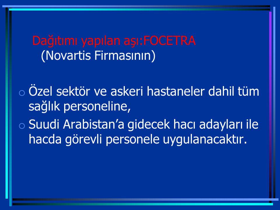 Dağıtımı yapılan aşı:FOCETRA (Novartis Firmasının)
