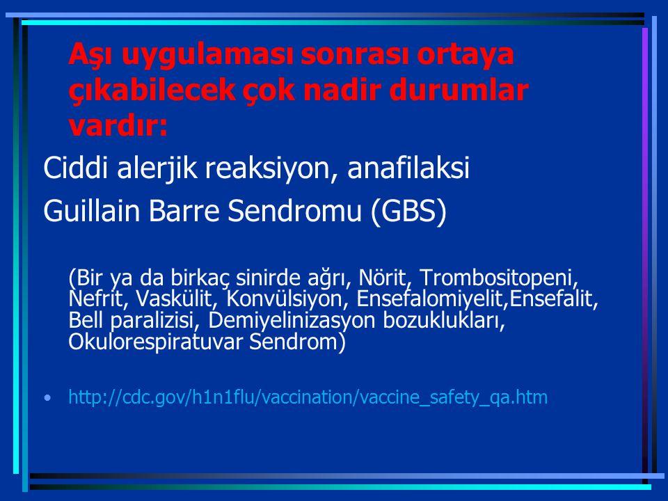 Aşı uygulaması sonrası ortaya çıkabilecek çok nadir durumlar vardır: