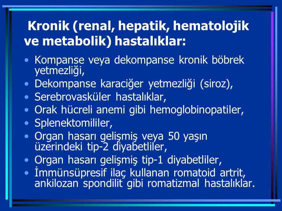 Kronik (renal, hepatik, hematolojik ve metabolik) hastalıklar: