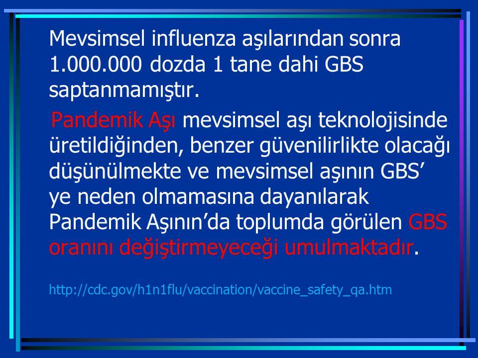 4/7/2017 Mevsimsel influenza aşılarından sonra 1.000.000 dozda 1 tane dahi GBS saptanmamıştır.