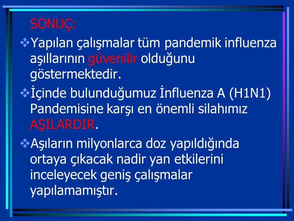4/7/2017 SONUÇ: Yapılan çalışmalar tüm pandemik influenza aşıllarının güvenilir olduğunu göstermektedir.
