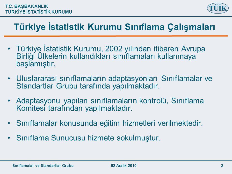 Türkiye İstatistik Kurumu Sınıflama Çalışmaları