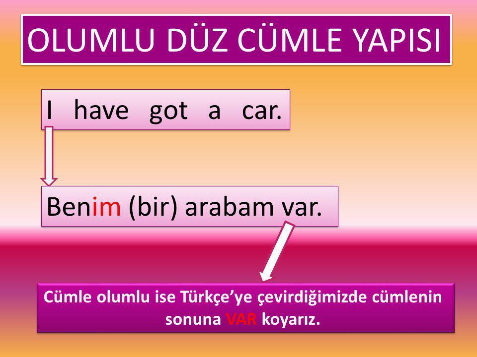 Cümle olumlu ise Türkçe'ye çevirdiğimizde cümlenin