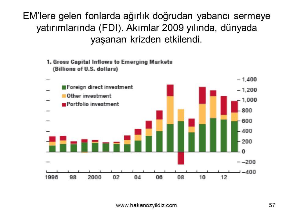 EM'lere gelen fonlarda ağırlık doğrudan yabancı sermeye yatırımlarında (FDI). Akımlar 2009 yılında, dünyada yaşanan krizden etkilendi.
