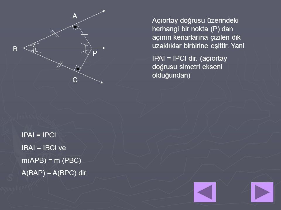A Açıortay doğrusu üzerindeki herhangi bir nokta (P) dan açının kenarlarına çizilen dik uzaklıklar birbirine eşittir. Yani.