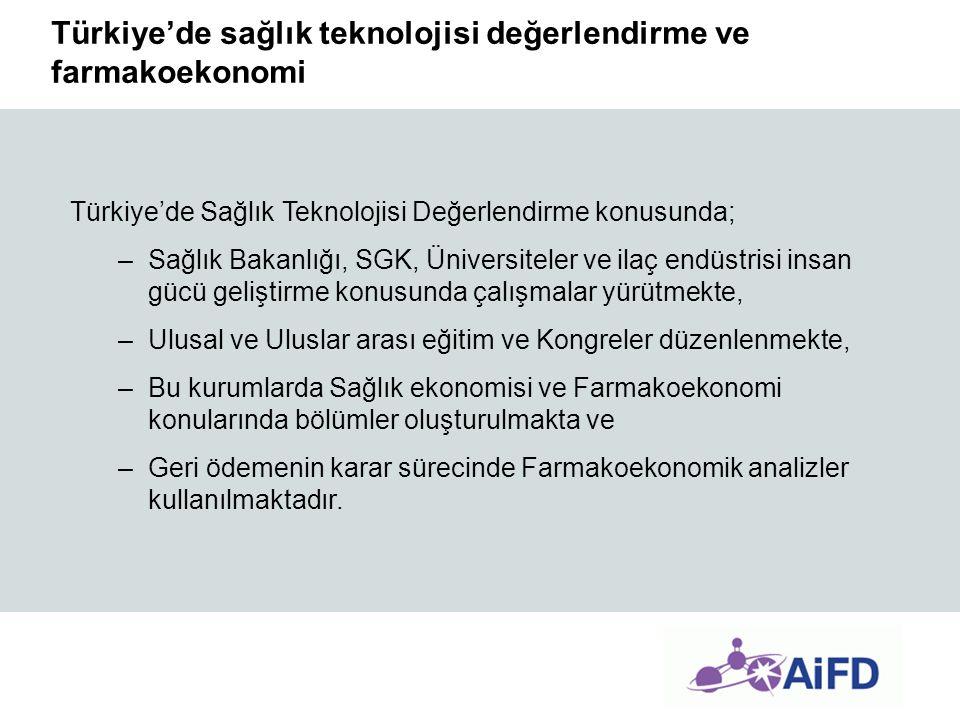 Türkiye'de sağlık teknolojisi değerlendirme ve farmakoekonomi