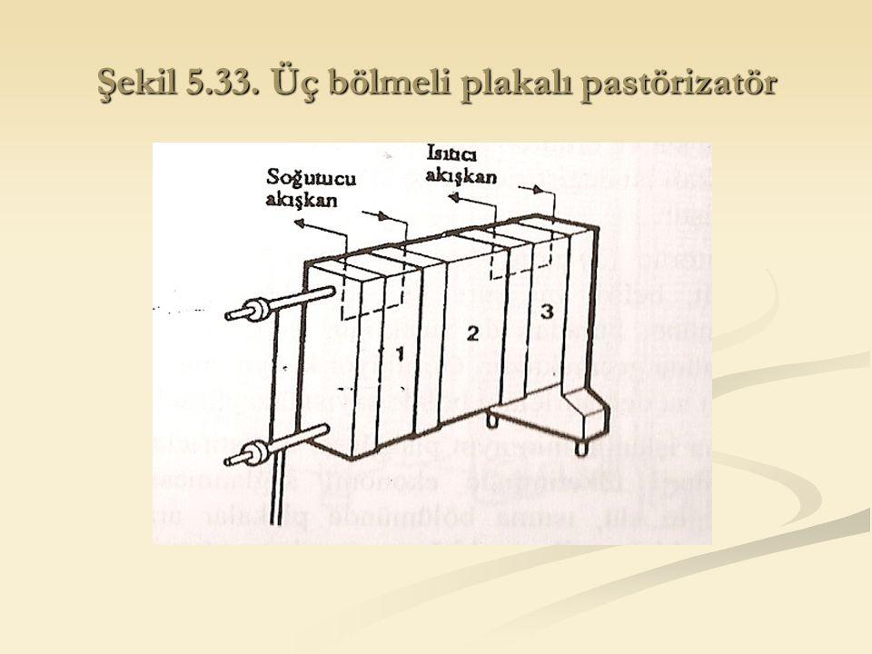 Şekil 5.33. Üç bölmeli plakalı pastörizatör
