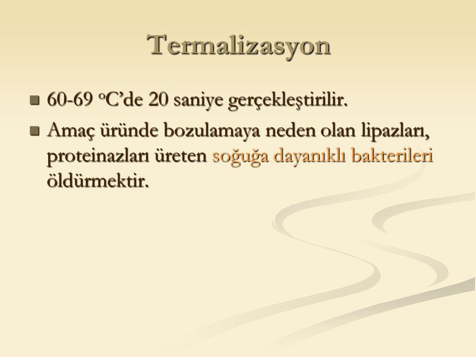 Termalizasyon 60-69 oC'de 20 saniye gerçekleştirilir.