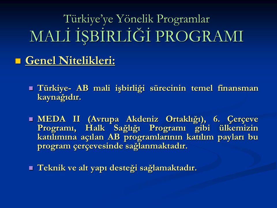 Türkiye'ye Yönelik Programlar MALİ İŞBİRLİĞİ PROGRAMI