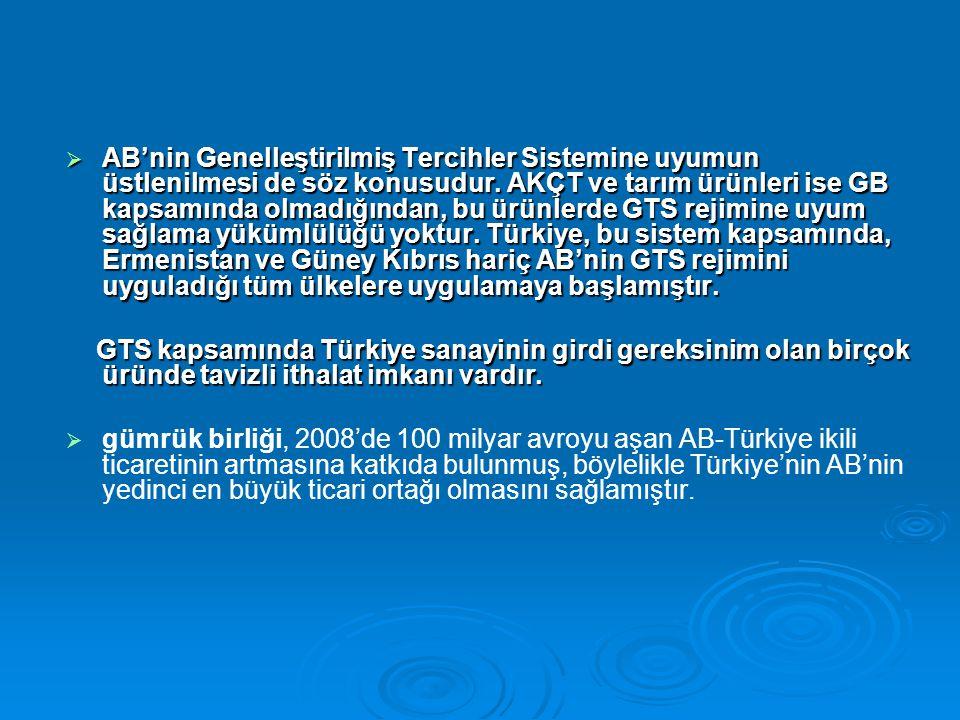 AB'nin Genelleştirilmiş Tercihler Sistemine uyumun üstlenilmesi de söz konusudur. AKÇT ve tarım ürünleri ise GB kapsamında olmadığından, bu ürünlerde GTS rejimine uyum sağlama yükümlülüğü yoktur. Türkiye, bu sistem kapsamında, Ermenistan ve Güney Kıbrıs hariç AB'nin GTS rejimini uyguladığı tüm ülkelere uygulamaya başlamıştır.