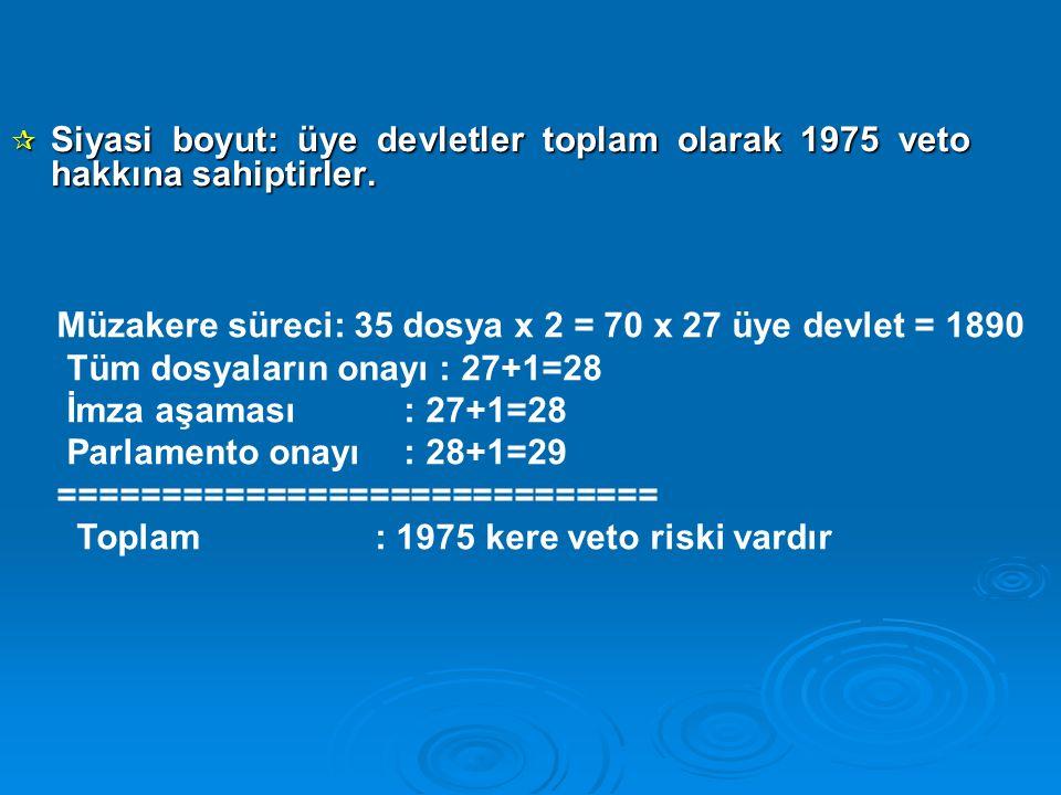 Siyasi boyut: üye devletler toplam olarak 1975 veto hakkına sahiptirler.