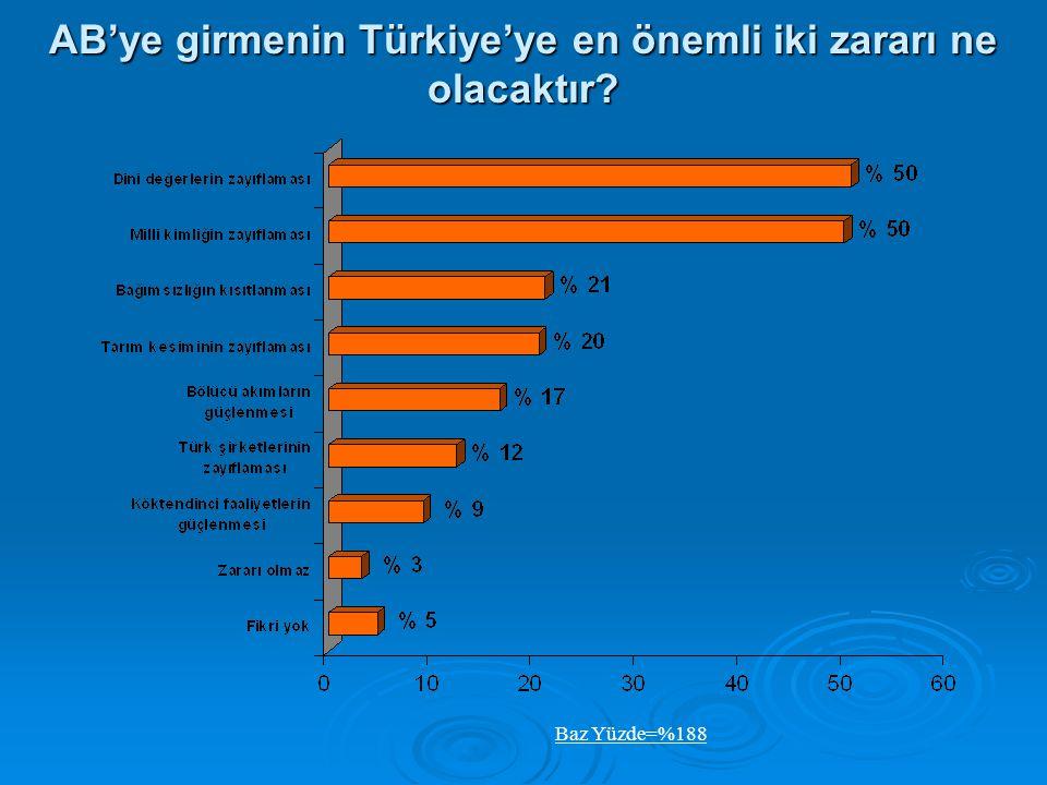 AB'ye girmenin Türkiye'ye en önemli iki zararı ne olacaktır