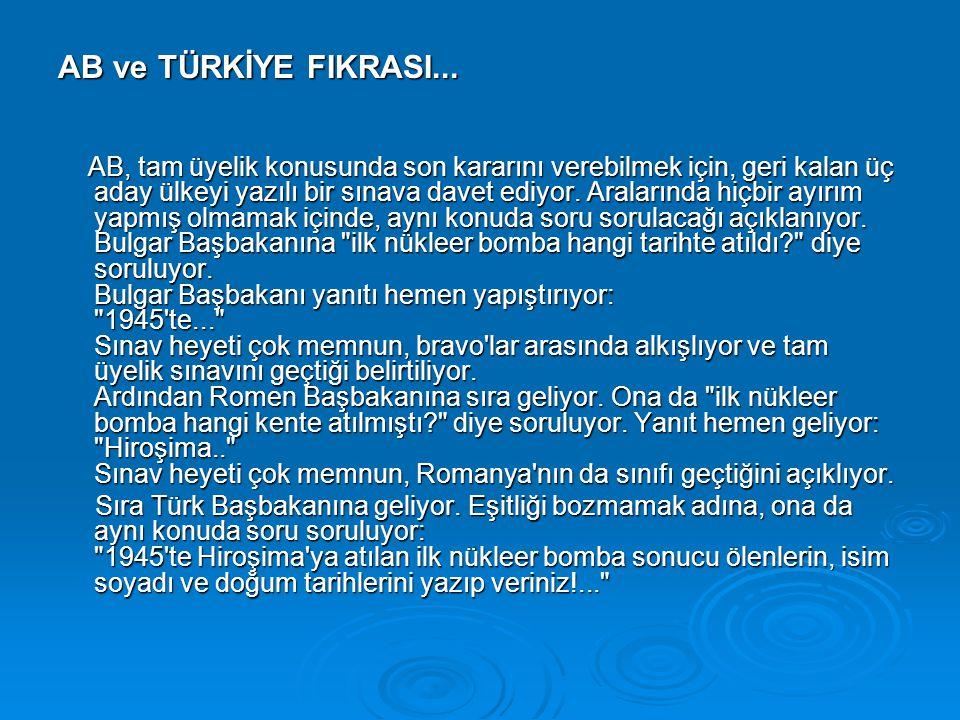 AB ve TÜRKİYE FIKRASI...