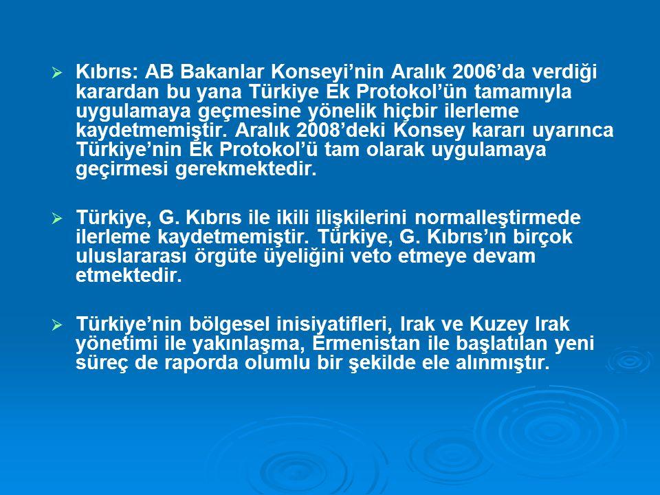 Kıbrıs: AB Bakanlar Konseyi'nin Aralık 2006'da verdiği karardan bu yana Türkiye Ek Protokol'ün tamamıyla uygulamaya geçmesine yönelik hiçbir ilerleme kaydetmemiştir. Aralık 2008'deki Konsey kararı uyarınca Türkiye'nin Ek Protokol'ü tam olarak uygulamaya geçirmesi gerekmektedir.