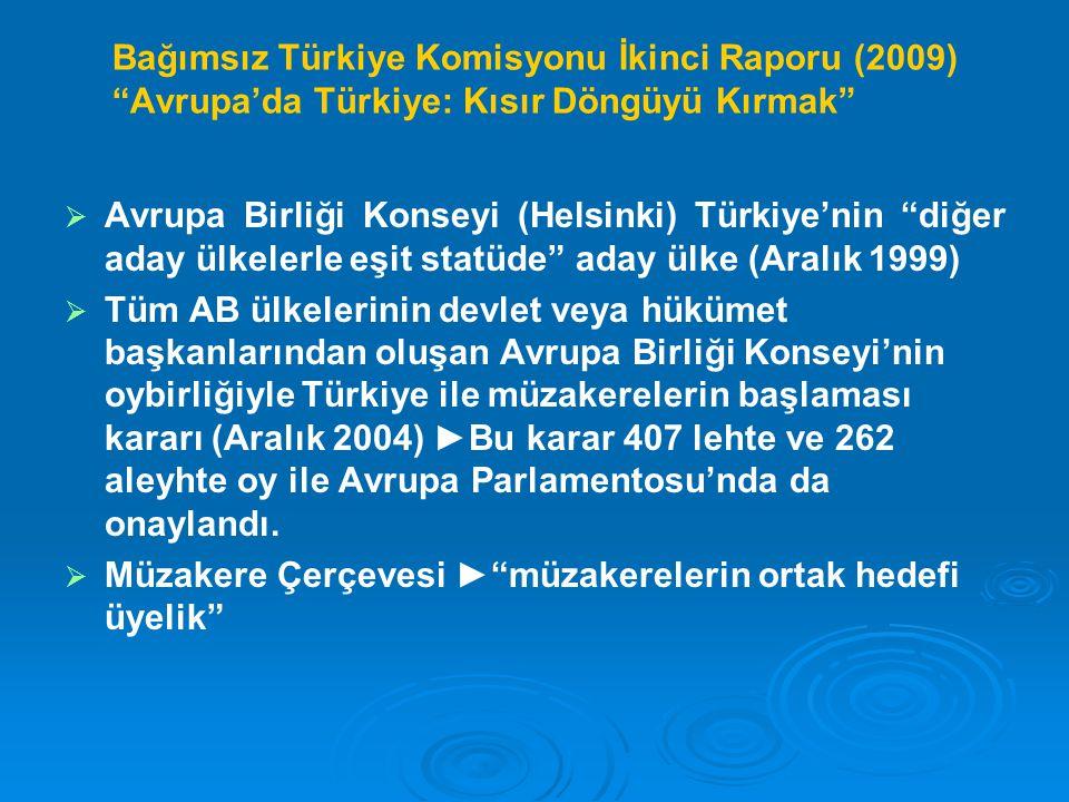 Bağımsız Türkiye Komisyonu İkinci Raporu (2009) Avrupa'da Türkiye: Kısır Döngüyü Kırmak