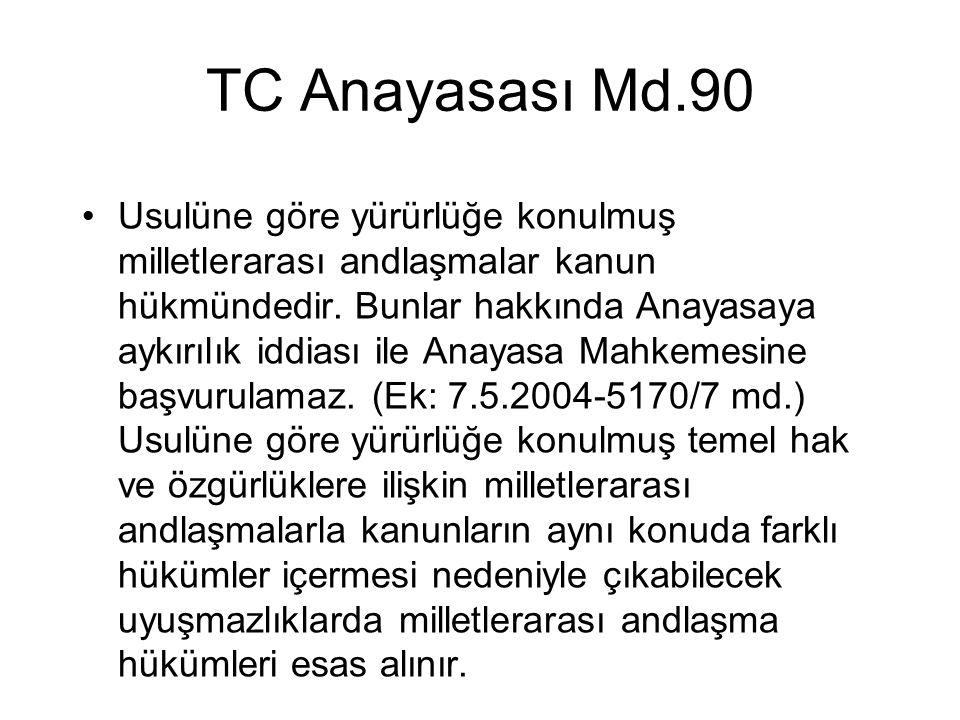 TC Anayasası Md.90