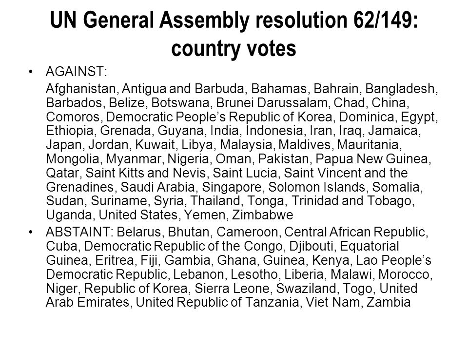 UN General Assembly resolution 62/149: country votes
