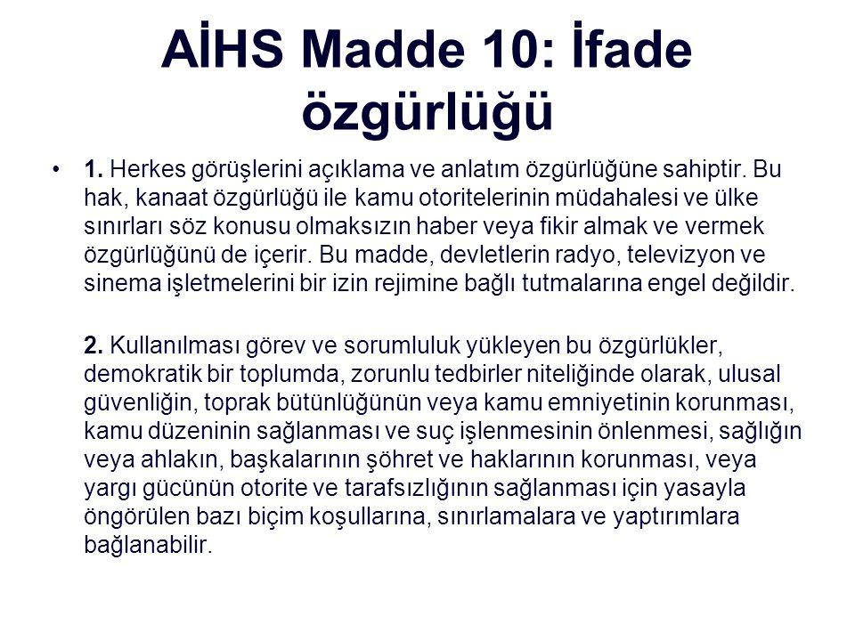AİHS Madde 10: İfade özgürlüğü