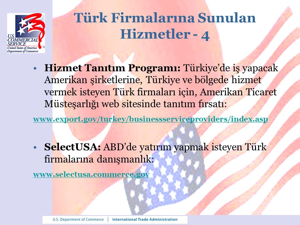 Türk Firmalarına Sunulan Hizmetler - 4