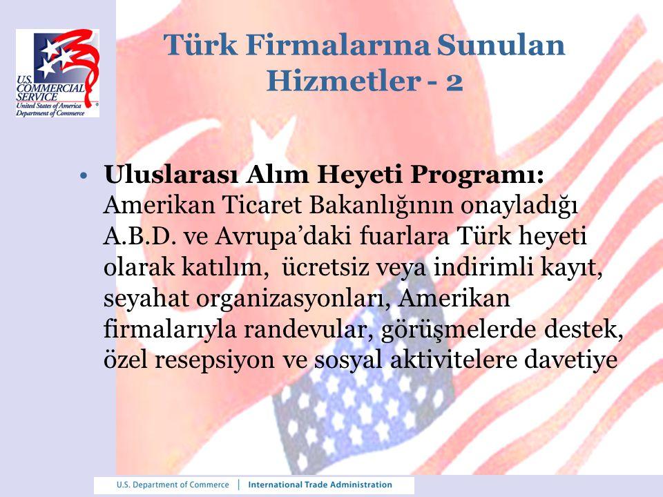 Türk Firmalarına Sunulan Hizmetler - 2