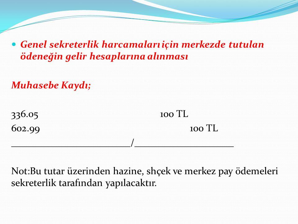 Genel sekreterlik harcamaları için merkezde tutulan ödeneğin gelir hesaplarına alınması