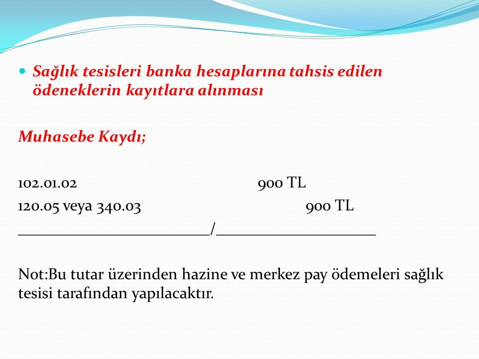 Sağlık tesisleri banka hesaplarına tahsis edilen ödeneklerin kayıtlara alınması