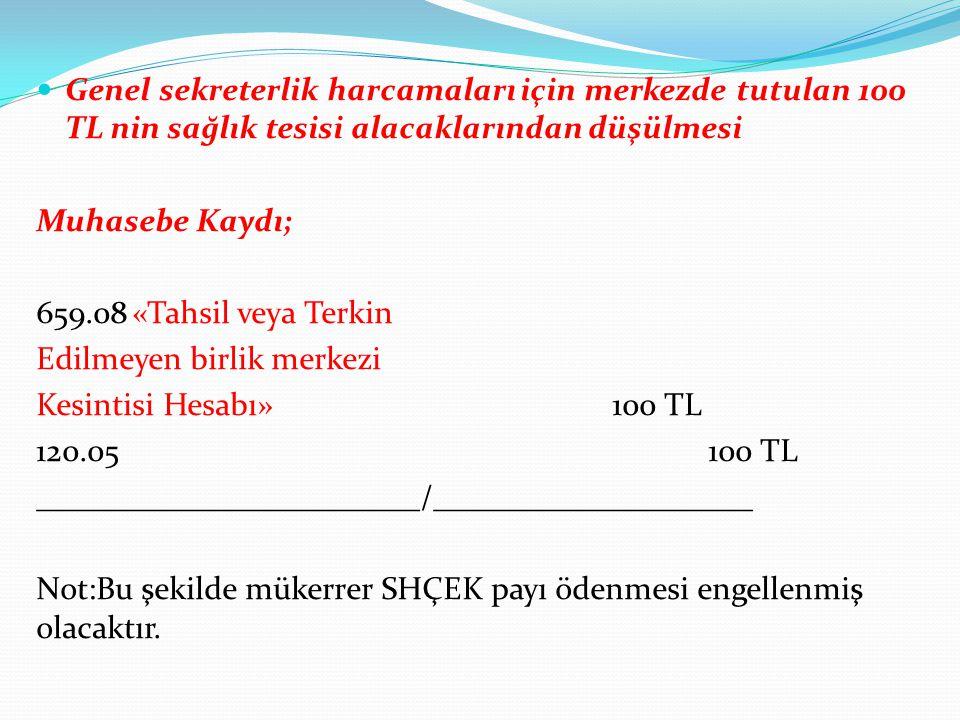 Genel sekreterlik harcamaları için merkezde tutulan 100 TL nin sağlık tesisi alacaklarından düşülmesi