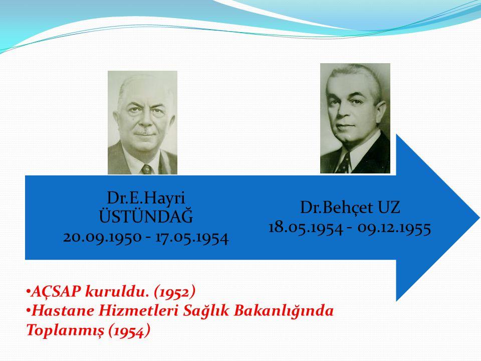Dr.Behçet UZ 18.05.1954 - 09.12.1955 Dr.E.Hayri ÜSTÜNDAĞ 20.09.1950 - 17.05.1954. AÇSAP kuruldu. (1952)