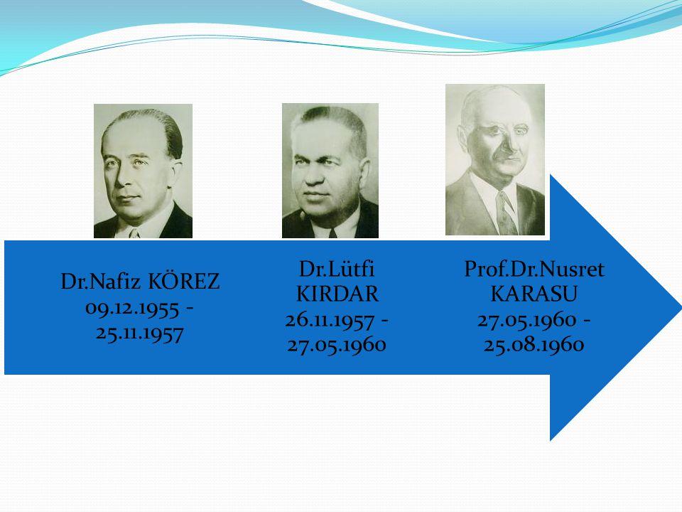 Prof.Dr.Nusret KARASU 27.05.1960 - 25.08.1960 Dr.Lütfi KIRDAR 26.11.1957 - 27.05.1960.