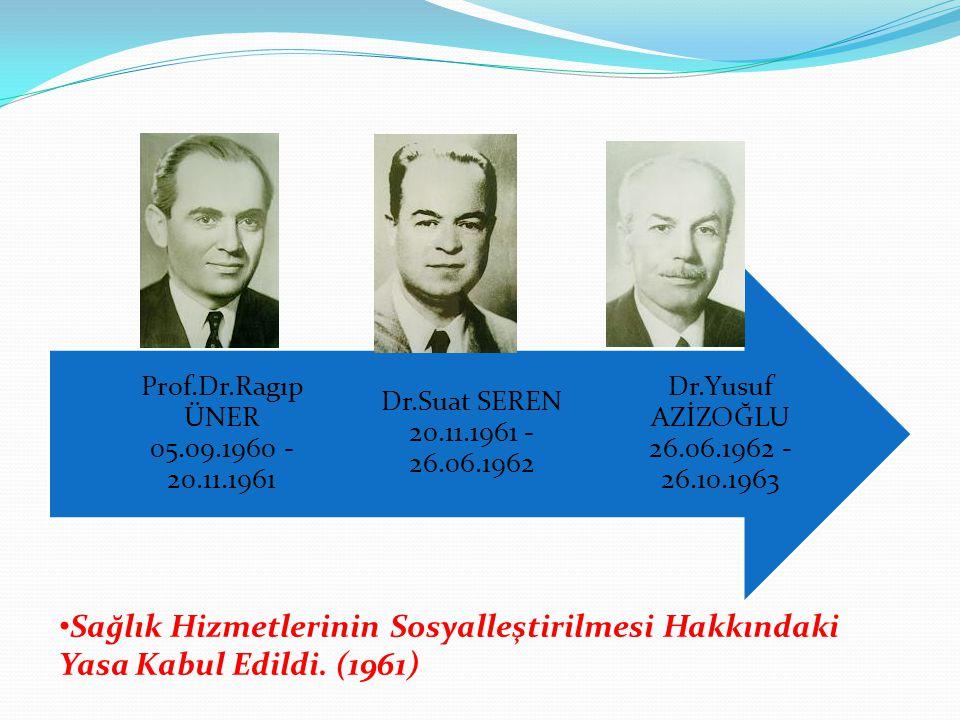 Dr.Yusuf AZİZOĞLU 26.06.1962 - 26.10.1963 Dr.Suat SEREN 20.11.1961 - 26.06.1962. Prof.Dr.Ragıp ÜNER 05.09.1960 - 20.11.1961.