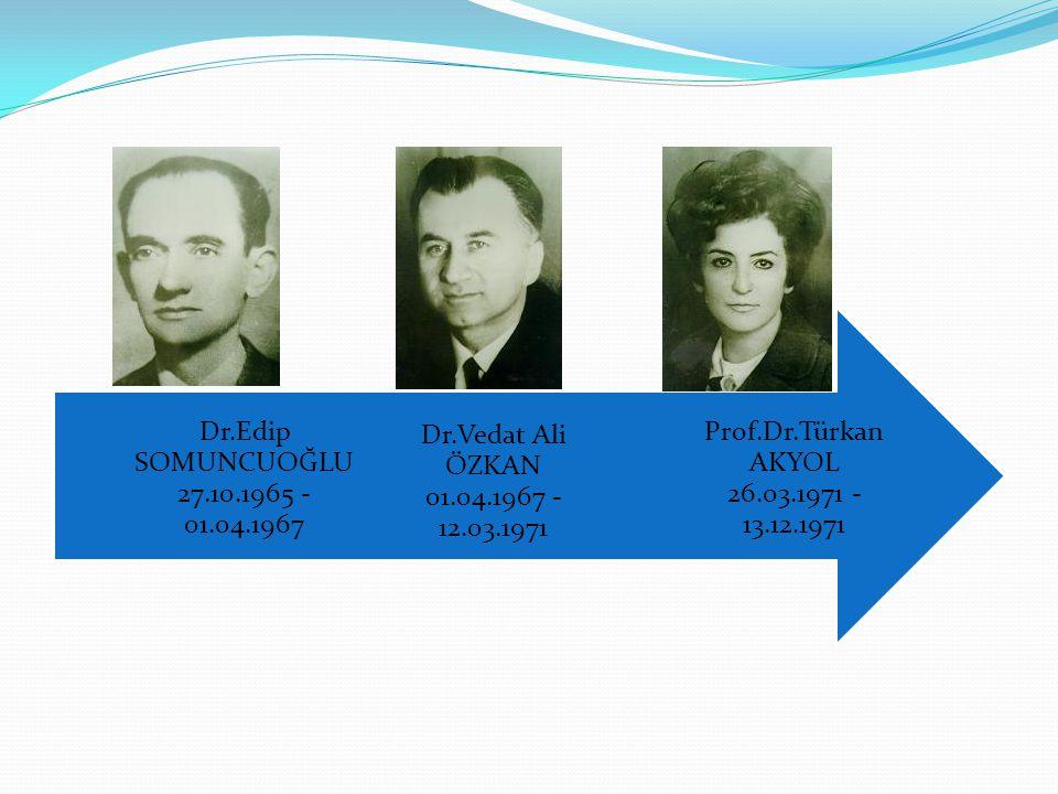 Prof.Dr.Türkan AKYOL 26.03.1971 - 13.12.1971 Dr.Vedat Ali ÖZKAN 01.04.1967 - 12.03.1971.