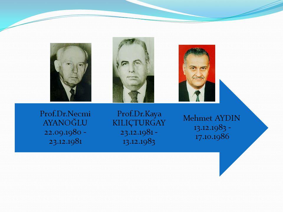 Prof.Dr.Kaya KILIÇTURGAY 23.12.1981 - 13.12.1983