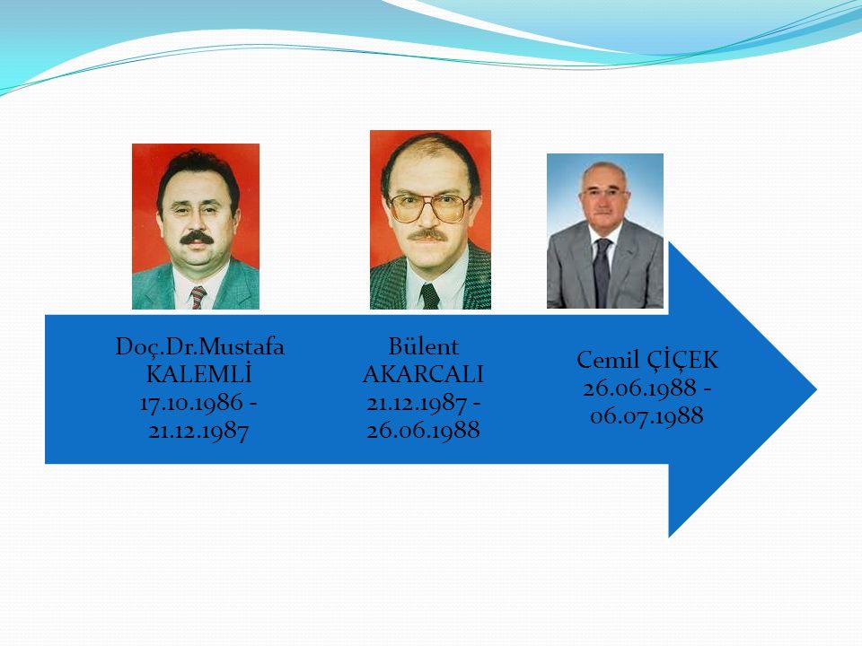 Doç.Dr.Mustafa KALEMLİ 17.10.1986 - 21.12.1987