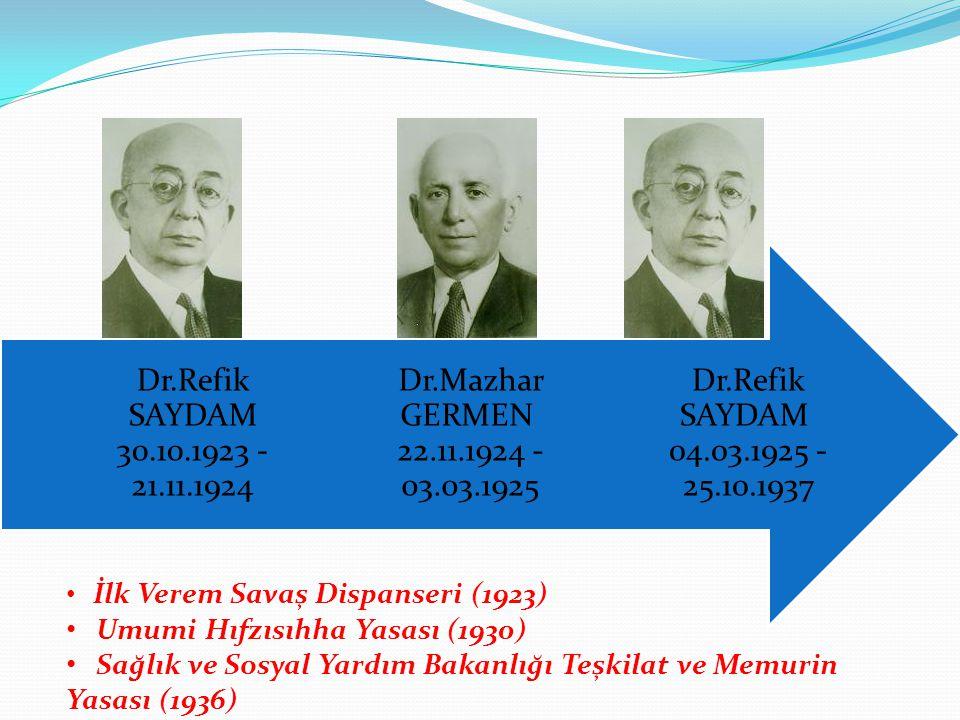 Dr.Refik SAYDAM 04.03.1925 - 25.10.1937 Dr.Mazhar GERMEN 22.11.1924 - 03.03.1925. Dr.Refik SAYDAM 30.10.1923 - 21.11.1924.