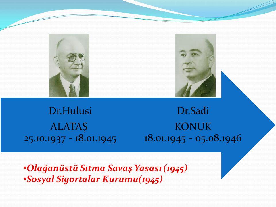 Dr.Sadi KONUK 18.01.1945 - 05.08.1946 Dr.Hulusi