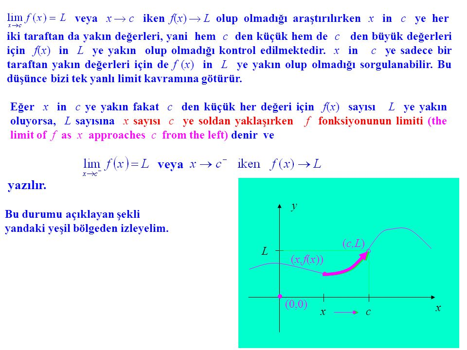 veya x  c iken f(x)  L olup olmadığı araştırılırken x in c ye her