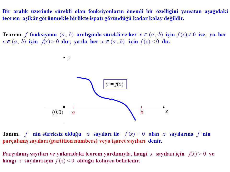 Bir aralık üzerinde sürekli olan fonksiyonların önemli bir özelliğini yansıtan aşağıdaki teorem aşikâr görünmekle birlikte ispatı göründüğü kadar kolay değildir.