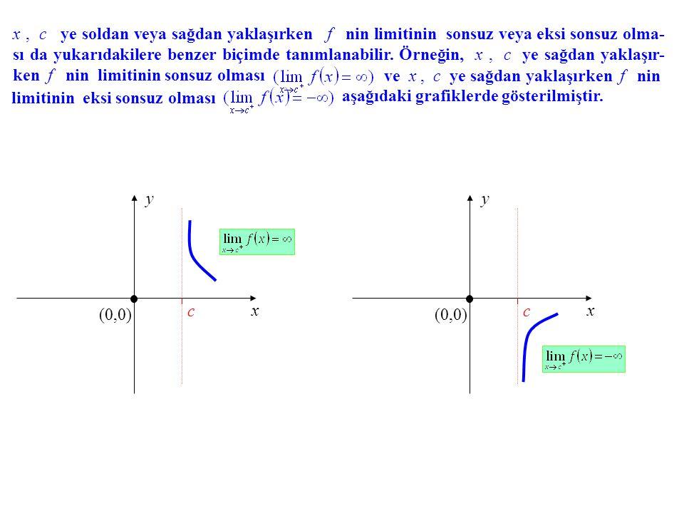 x , c ye soldan veya sağdan yaklaşırken f nin limitinin sonsuz veya eksi sonsuz olma-sı da yukarıdakilere benzer biçimde tanımlanabilir. Örneğin, x , c ye sağdan yaklaşır-ken f nin limitinin sonsuz olması