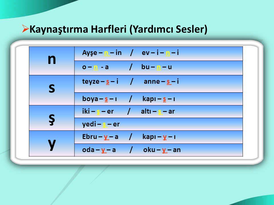 n s ş y Kaynaştırma Harfleri (Yardımcı Sesler)