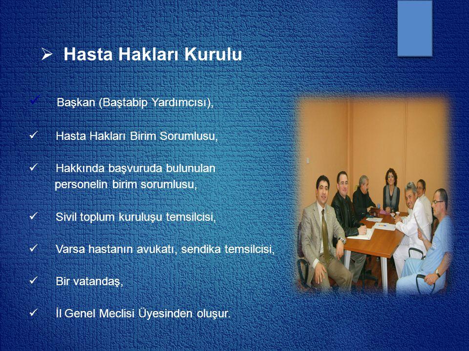Hasta Hakları Kurulu Başkan (Baştabip Yardımcısı),