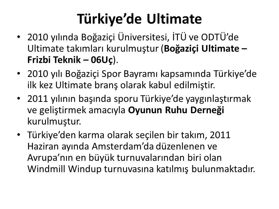 Türkiye'de Ultimate 2010 yılında Boğaziçi Üniversitesi, İTÜ ve ODTÜ'de Ultimate takımları kurulmuştur (Boğaziçi Ultimate – Frizbi Teknik – 06Uç).