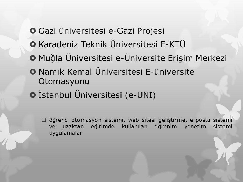 Gazi üniversitesi e-Gazi Projesi Karadeniz Teknik Üniversitesi E-KTÜ