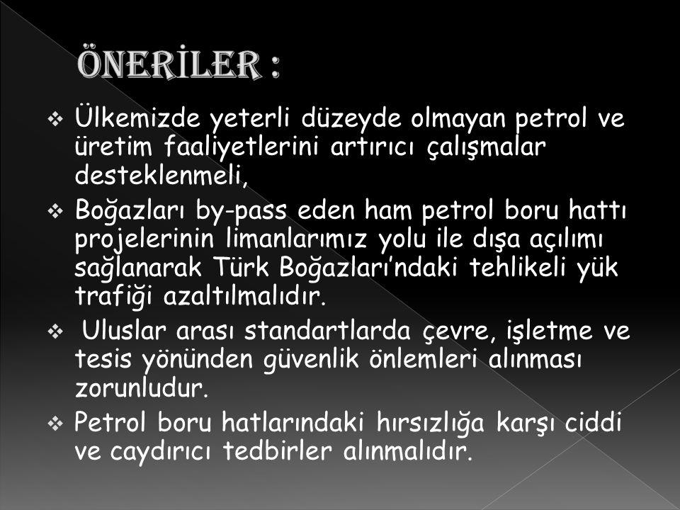 ÖNERİLER : Ülkemizde yeterli düzeyde olmayan petrol ve üretim faaliyetlerini artırıcı çalışmalar desteklenmeli,
