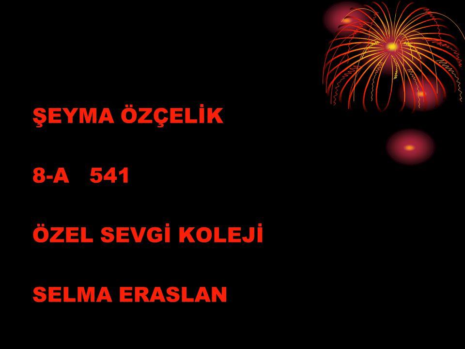 ŞEYMA ÖZÇELİK 8-A 541 ÖZEL SEVGİ KOLEJİ SELMA ERASLAN
