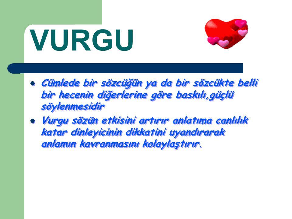 VURGU Cümlede bir sözcüğün ya da bir sözcükte belli bir hecenin diğerlerine göre baskılı,güçlü söylenmesidir.