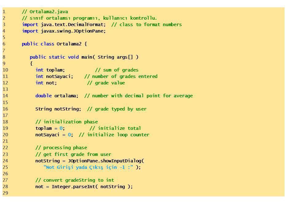 1 // Ortalama2.java 2 // sınıf ortalamsı programıı, kullanıcı kontrollu.