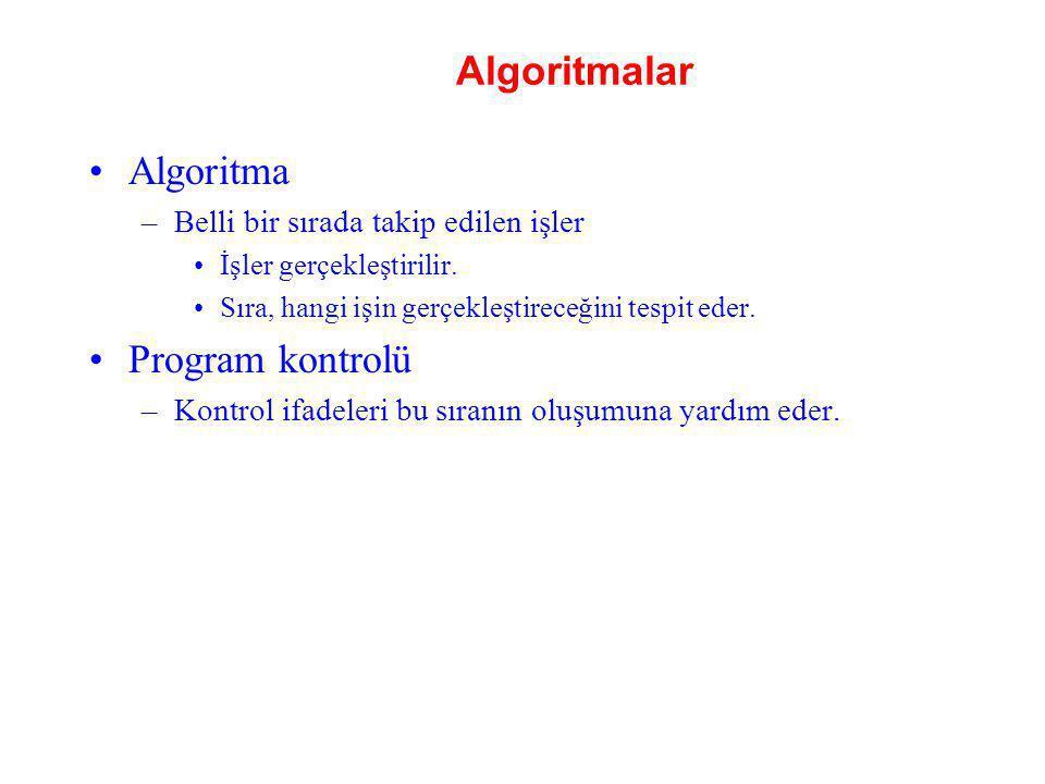 Algoritmalar Algoritma Program kontrolü