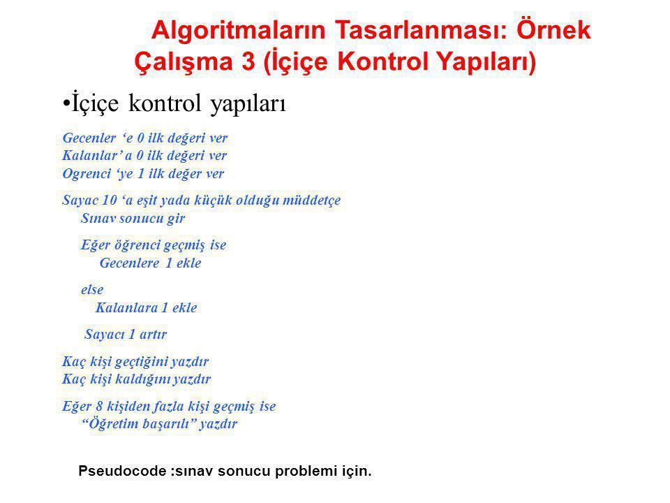 Algoritmaların Tasarlanması: Örnek Çalışma 3 (İçiçe Kontrol Yapıları)