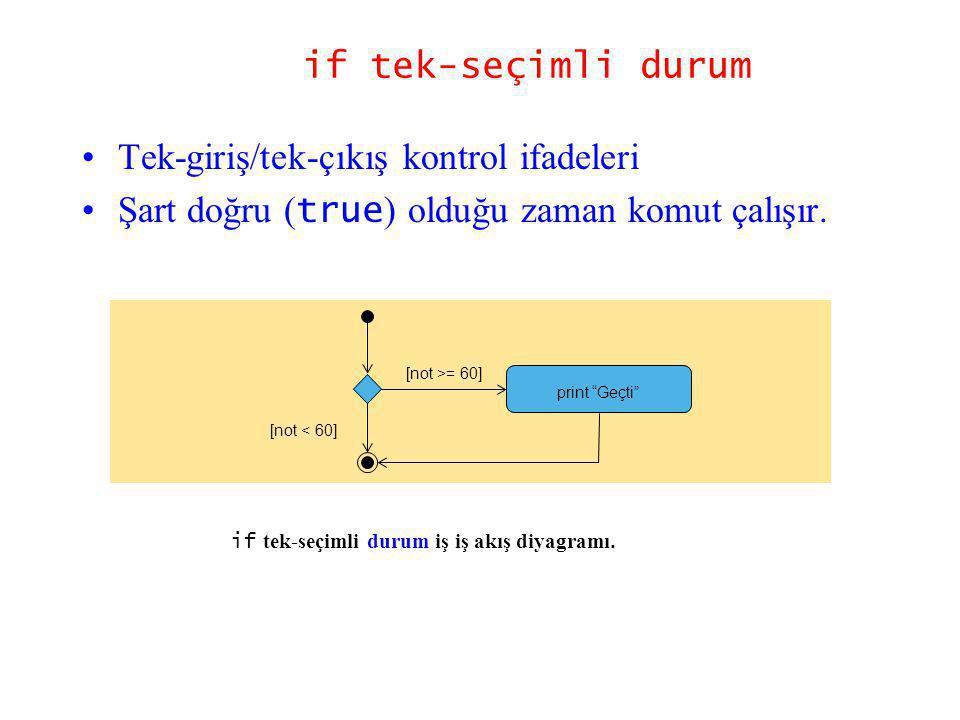 Tek-giriş/tek-çıkış kontrol ifadeleri