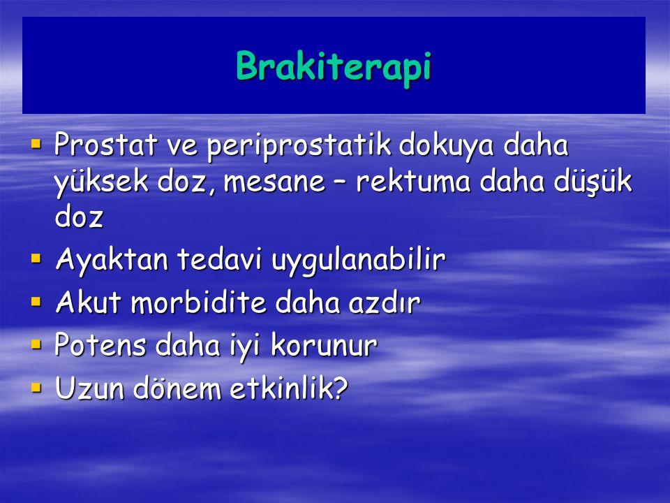 Brakiterapi Prostat ve periprostatik dokuya daha yüksek doz, mesane – rektuma daha düşük doz. Ayaktan tedavi uygulanabilir.